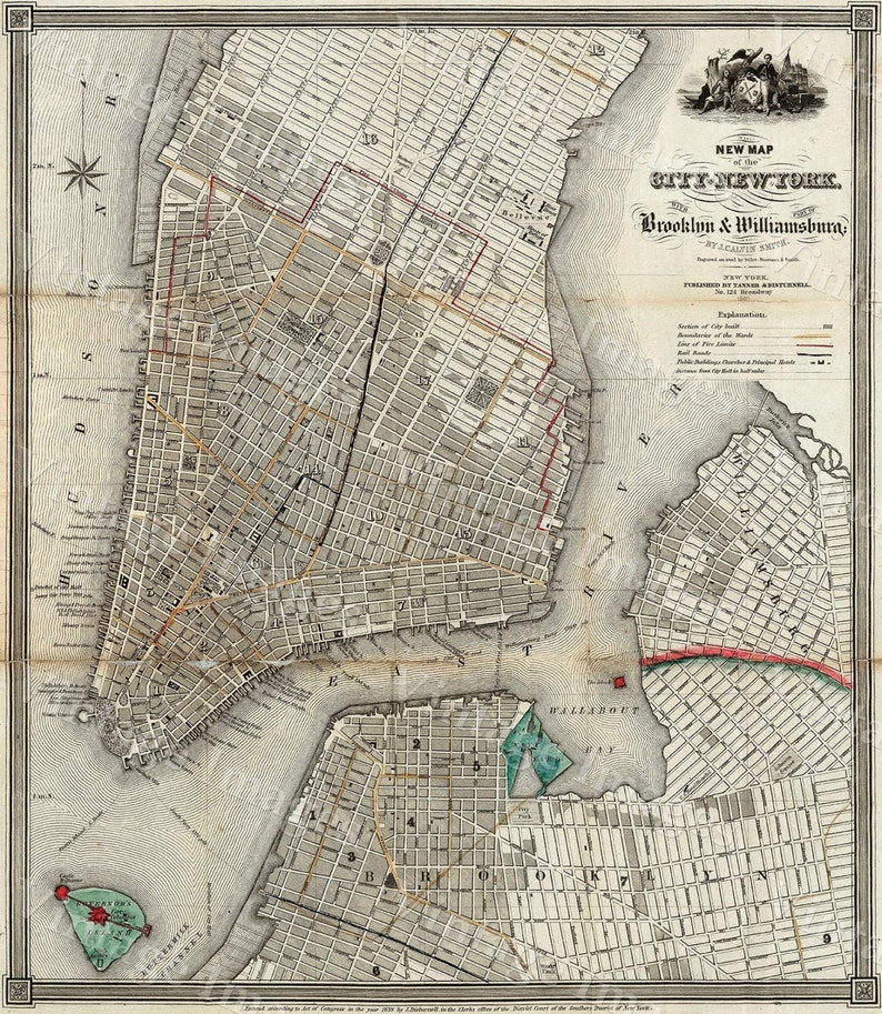 Map Of Old New York.New York Map 1840 Old Map Of New York City Vintage Manhattan Etsy