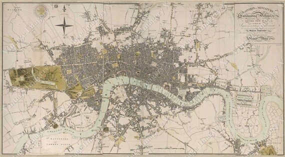 Giant  Vintage Historic Map of London England 1807 Old Antique Restoration Hardware Style Map Fine Art Print Home Decor wall map