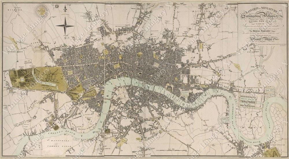 London England Map Large Vintage Historic Old 1807 Antique