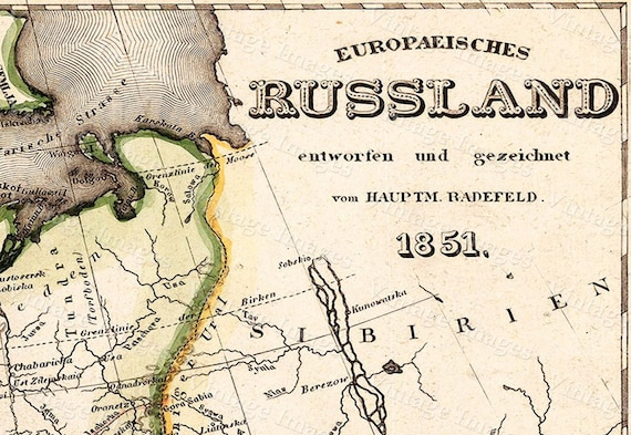 """VINTAGE Historic Old Map of Russia 1851 antique Old World Restoration Style Map Fine Art Print wall map poster in 6 sizes up to 43"""" x 50"""""""