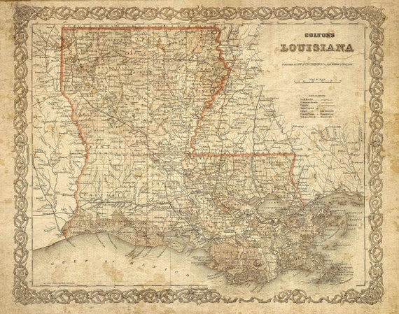 Antique Louisiana Map 1886 Historic Old Map of Louisiana Restoration decor Style Louisiana Wall Map Vintage Map Home Decor cool Gift Idea