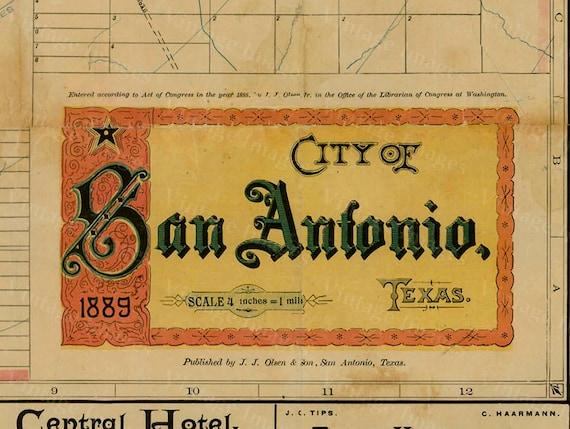 San Antonio map Texas Map vintage 1889 old map of San Antonio Antique Restoration decorator Style San Antonio wall Map Perfect Gift idea