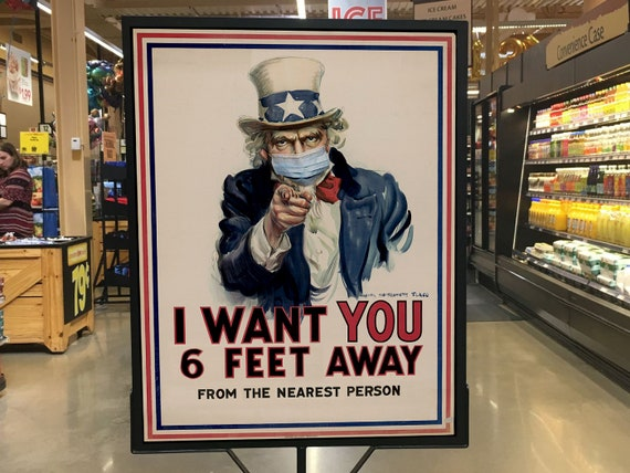 Vintage Uncle Sam I want you Social distancing poster retro PSA 6ft away sign retro store sign Small Business Signage