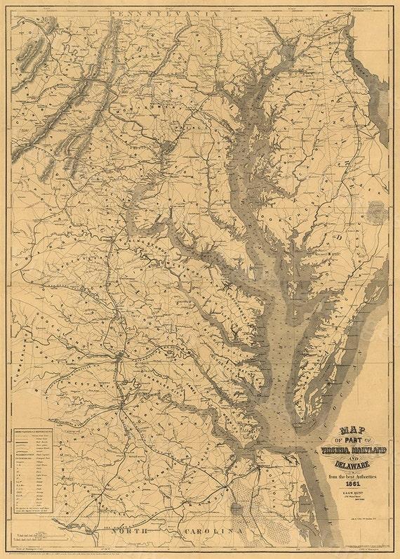 Chesapeake Bay Map print 1861 Restoration decor Style Vintage coastal map of Chesapeake Bay Maryland Virginia Delaware Old Nautical wall map