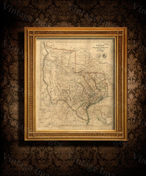 Old Texas wall Map 1841 Historical Texas map Antique Decorator Style wall Map of Texas state Map Vintage Texas Map Fine Art rustic Map gift