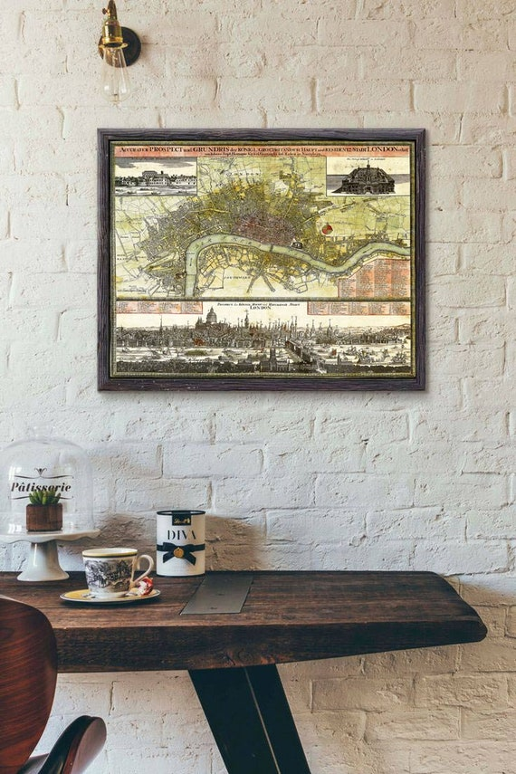 Old london map england map Giant Vintage Historic London map print 1740 Old Antique Style london wall Map decor Fine Art Print travel gift