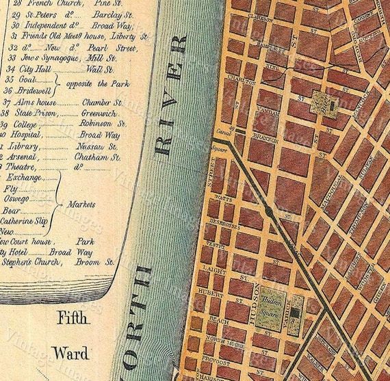 1807 Historic New York City Map Plan Restoration  Style lower Manhattan wall Map Fine Art Print home decor