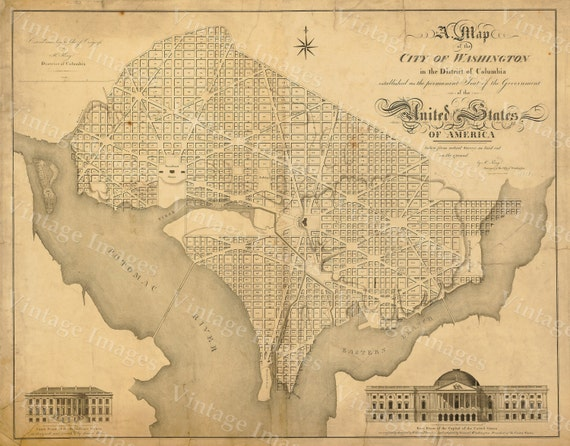 Washington DC Map Antique   Style Map of District of Columbia Map of Washington DC Large Wall Beltway Map of The Capitol