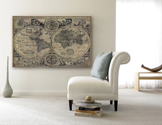 Vintage Old World Map Historic map 1626 antique world map Restoration world map decor map Fine Art poster Print Wall Decor housewarming gift