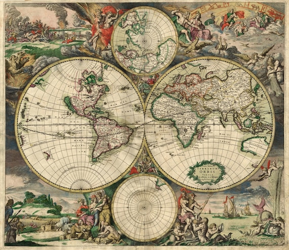 Huge VINTAGE HISTORIC 1689 antique Old World Copper Plate Style Map Fine Art Print