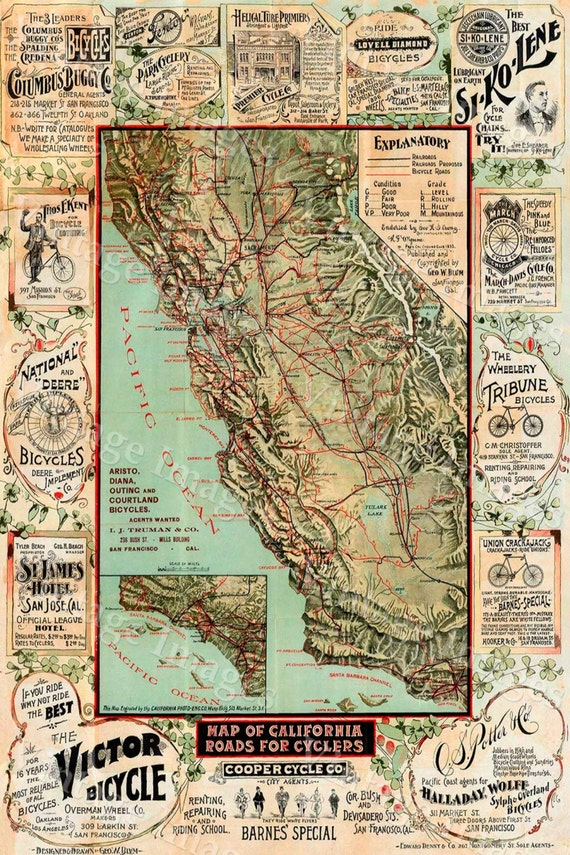 Old California Map, Cycling Bicycle Map, 1895 Vintage California map, cyclers map, Antique California wall Map, Fine art Print Poster