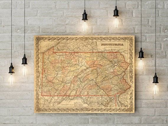 Vintage Pennsylvania map 1856 Pennsylvania map Housewarming Gift Pennsylvania Wall map Pennsylvania Art decorative Pennsylvania map home Art
