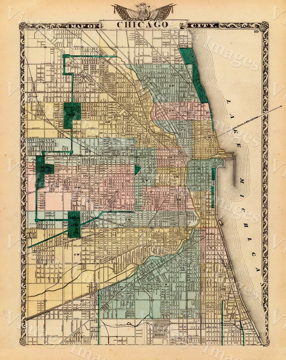 Vintage Map of Chicago, 1857 Chicago Illinois map Antique Chicago ...
