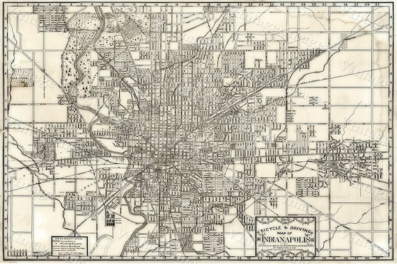 indianapolis Map Large 1899 Vintage Historic Indianapolis Indiana Bicycle Map Antique Restoration decor Style wall Map Fine art gift