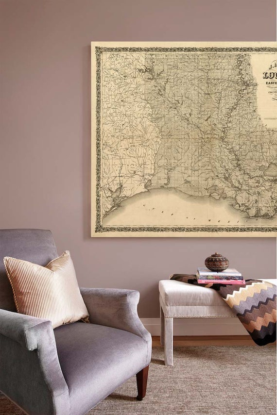 old map of Louisiana, Louisiana poster, Louisiana map art, Louisiana map Print 1863,Large, Louisiana gift idea, map sizes up to 5ft x 6ft