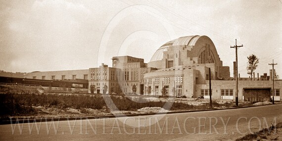 Cincinnati Union Station Photo 1933 Old Vintage Sepia toned Black White southern view Union Train Station Fine Art Photo restaurant decor