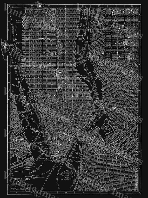 New York City Manhattan Street Map Vintage Black Poster New York Antique Architectural blueprint Style Giant wall Map Fine art map Print