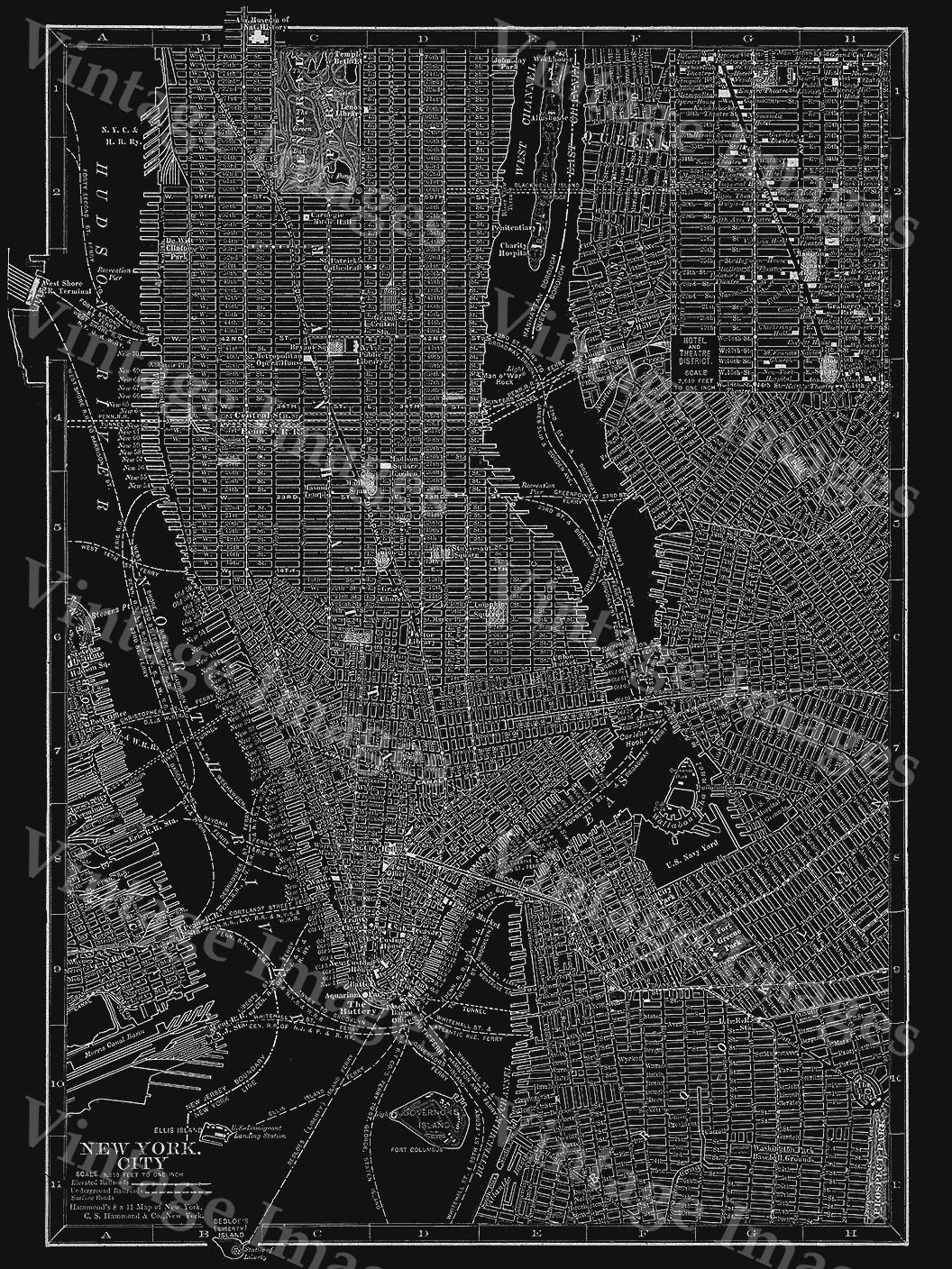 New York Map Black And White.New York City Manhattan Street Map 1910 Historic Black And White