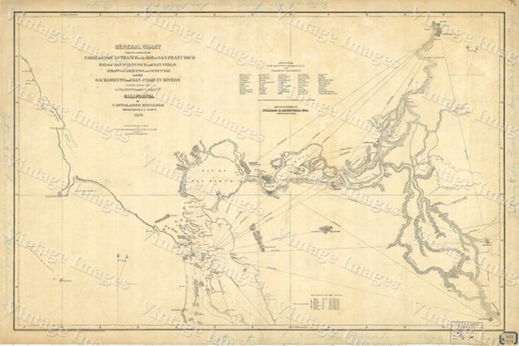 Map of San Francisco Bay 1850 vintage California Nautical Chart Wall Map Restoration style map coastal decor map Large Map