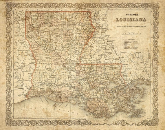 Vintage Louisiana Map Colton's 1886 Old Louisiana Map Historic Map Antique Restoration Style Map Wall Map Home Decor housewarming Gift Idea