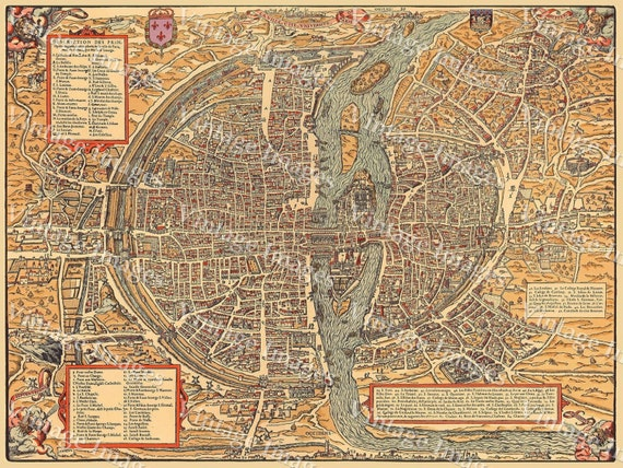 "Vintage map of Paris Historic 1575 PLAN DE PARIS France restoration style Map six sizes up to 43"" x 58' Fine art Print Home Decor"