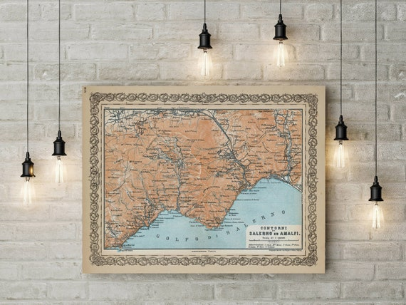 Amalfi Coast Map Vintage Map Print of Amalfi Coastline Italy Map Poster 1929 Map of Amalfi Area Italy Coast Housewarming gift