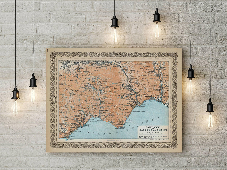 1929 Amalfi Coast Vintage Map Print Amalfi Coastline Italy