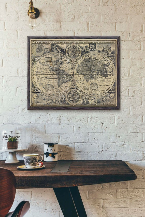 Vintage Old World Map 1626 Old map Antique Restoration decorator Style World Map Fine Art Print Old map of the world map Wall Decor Map Art