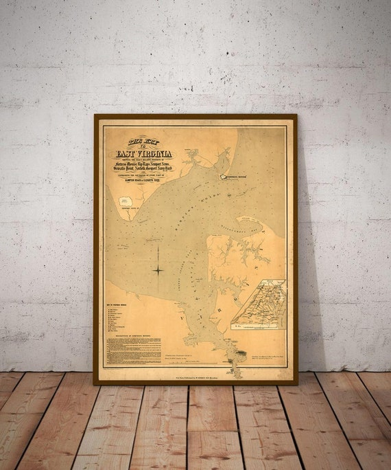 Antique Virginia Coastal Map Print   Style Map of Hampton Roads, chesapeake bay Large Wall Map Map Virginia Beach Gift