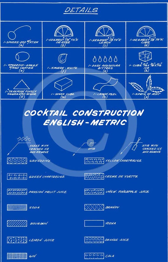Cocktail Blueprint Chart Martini Construction Print Recipe Etsy