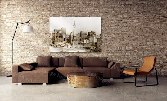 old Indianapolis Photo, Indianapolis Skyline photo, Monument Circle, Indiana art print, Indianapolis City Scene. Downtown Image largest size
