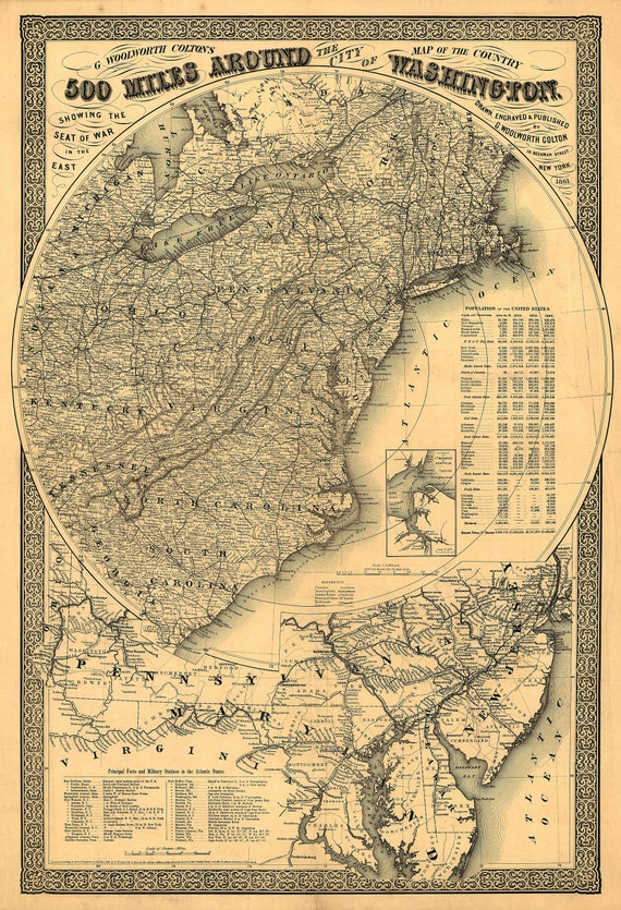 Washington DC Map 500 Miles Around - Civil War Map Print - 1861 Map print area around Washington, Virginia, Maryland, Chesapeake Bay decor