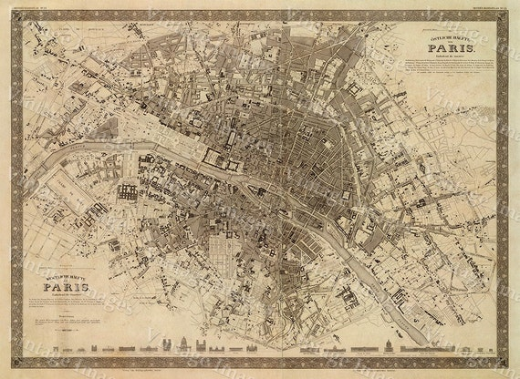 Paris map Old Map Vintage Paris City Plan Map of Paris 1860 | Etsy