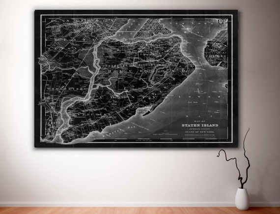Staten Island Map, black Architectural wall map, 1884 vintage map art print, Staten Island gift Map New york fine art print housewarming