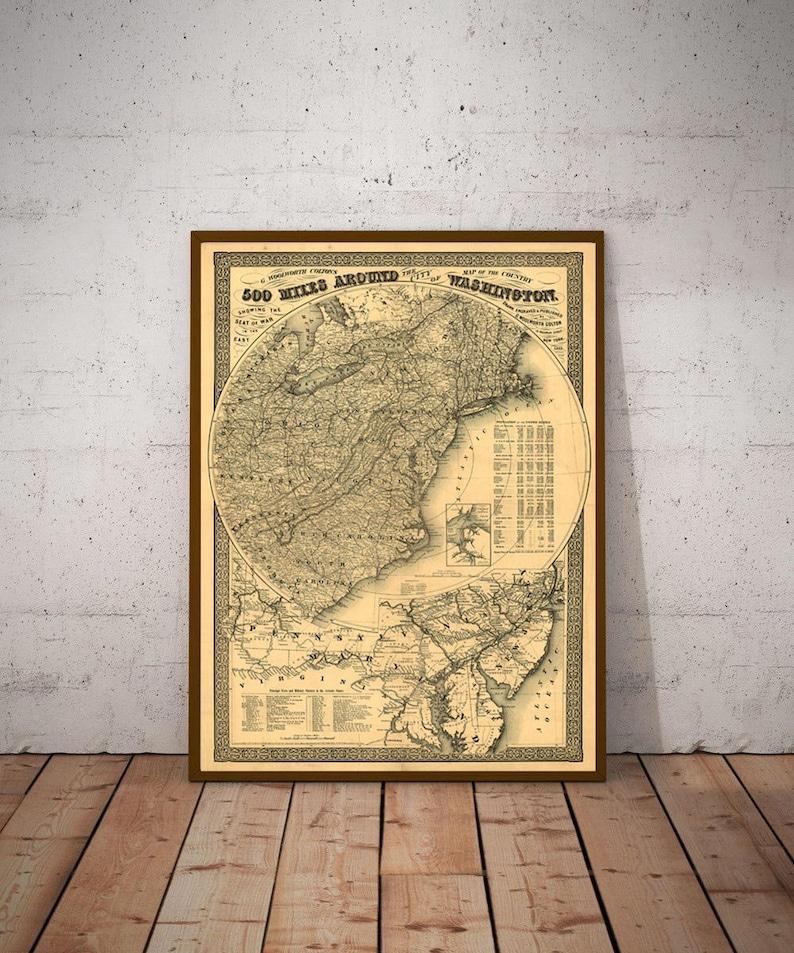 24x36 Vintage Reproduction Civil War Map Occoquan River to Richmond 1861
