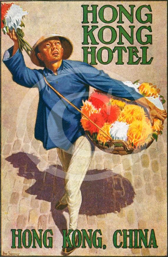 Vintage Dan Sweeney HONG KONG Hotel CHINA flowers luggage label Fine Art Print Giclee Poster