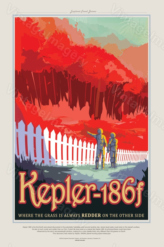 Kepler-186f Poster 2016 NASA/JPL Space Travel Poster Space Art Great Gift idea Science Fiction Poster Office, man cave, Wall Art Home Decor