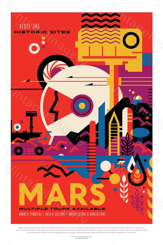 Mars Poster nasa poster The Red Planet 2016 NASA/JPL Space Travel Poster mars print Gift idea Mars Colony Office man cave Wall Art Decor
