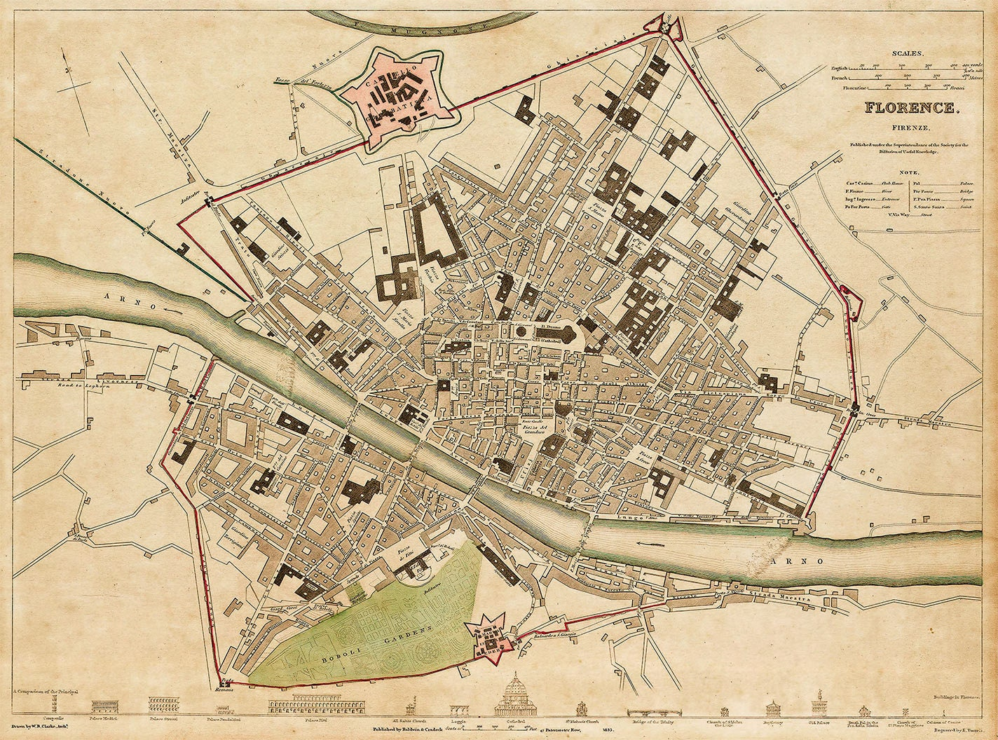 Old map of Florence Italy 1835 Florence map Vintage Map of Firenze ...