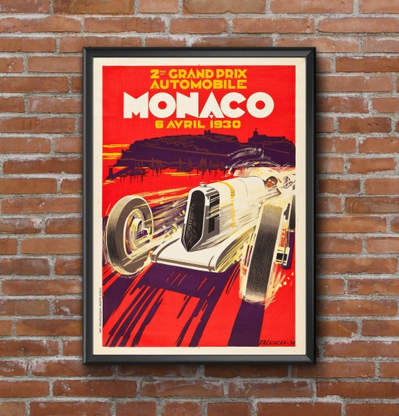 1930 Monaco Grand Prix Poster  Race Fan Gift, race car Fine Art Print  Formula 1 racing poster print, Wall Decor Garage decor gift for him