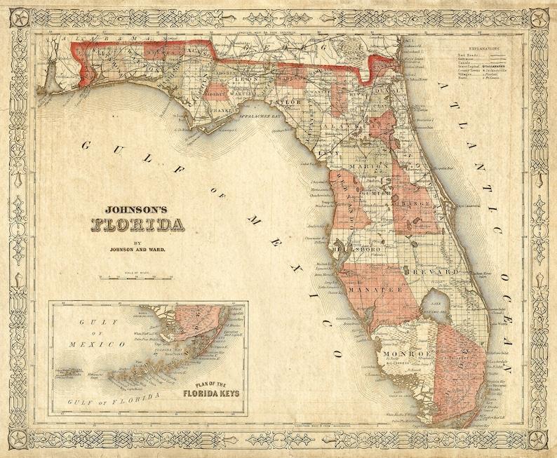 Old Florida Map 1863 Johnson S Map Of Florida Restoration Etsy