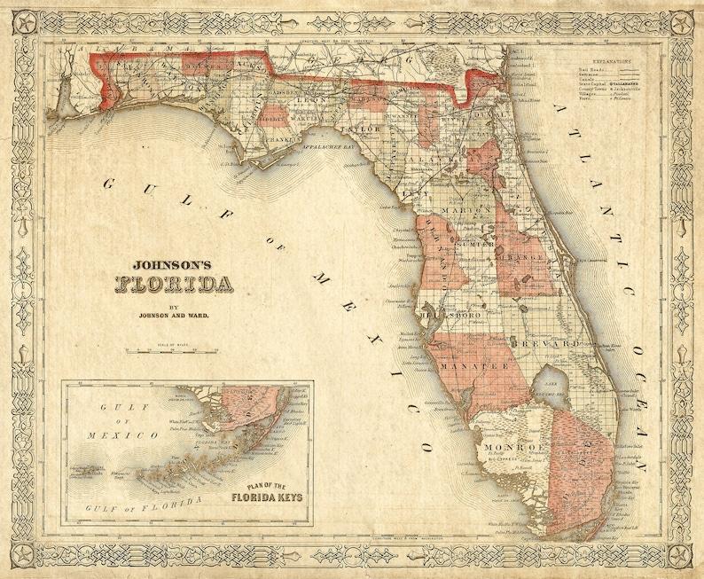 Florida Map State.Old Florida Map 1863 Johnson S Map Of Florida Restoration Etsy
