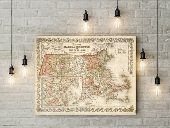 Massachusetts Map Map of Massachusetts 1865 Vintage Map Restoration Decorator Old Style Massachusetts Wall Map decor home housewarming gift
