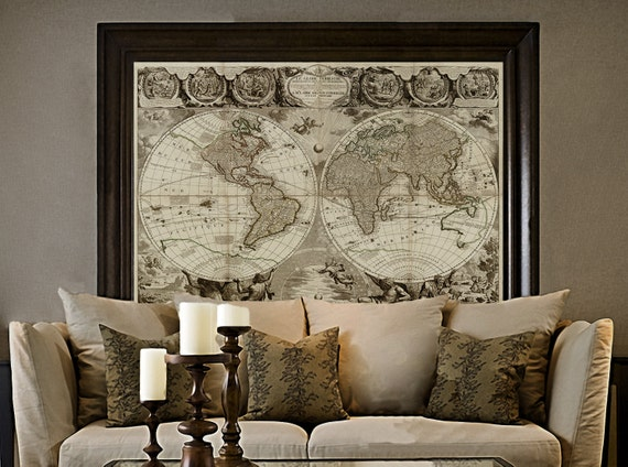Old World Map Baptiste 1708 world Map Print Antique Style World Map Jean Baptiste Nolin Le Globe Terrestre Wall Map Decor