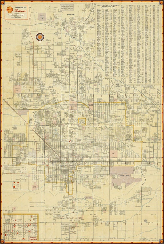 Old Phoenix Map Vintage Phoenix Arizona map print Antique   Style Map of Phoenix Arizona Wall Map Arizona Map Home decor