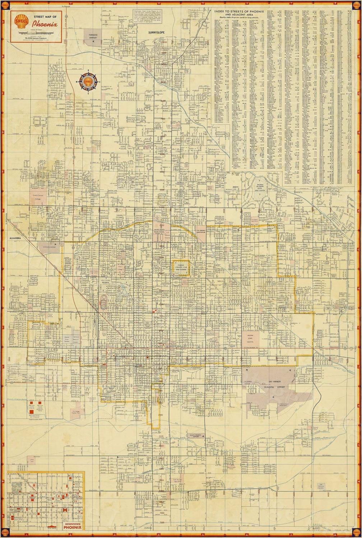 Old Phoenix Map Vintage Phoenix Arizona map print Antique ...