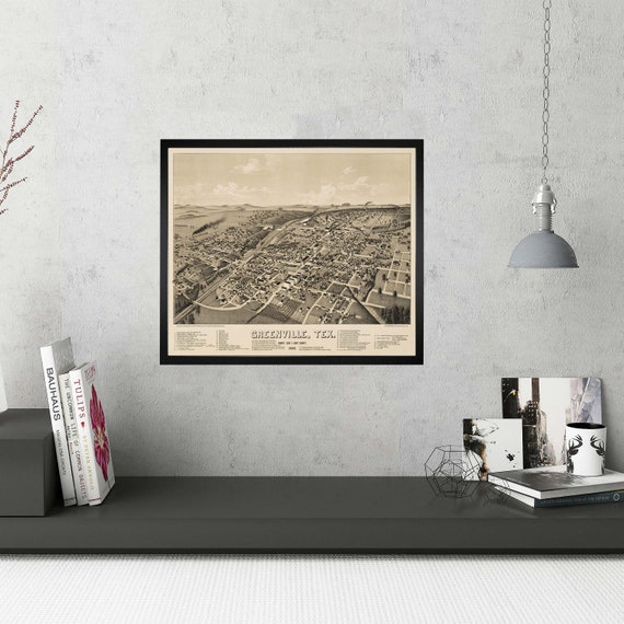 Map of Greenville, Hunt County, Texas, Texas Gift, Vintage, restoration hardware, home Decor, Old wall Map,reproduction map, print