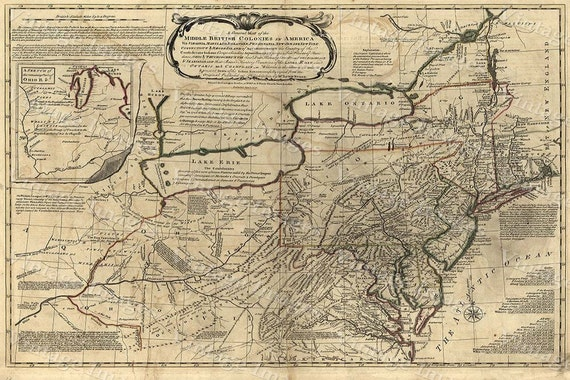 New England Map 1771 Antique Wall Map Of New England The Middle British Colonies In America old Style Fine Art Print