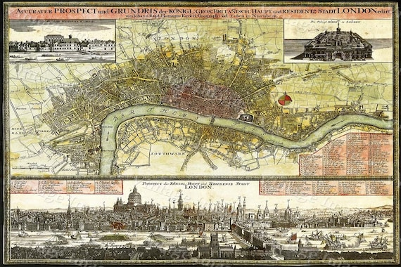 Old london england map Giant Vintage Historic London England 1740 Old Antique Restoration Style wall Map decor Fine Art Print
