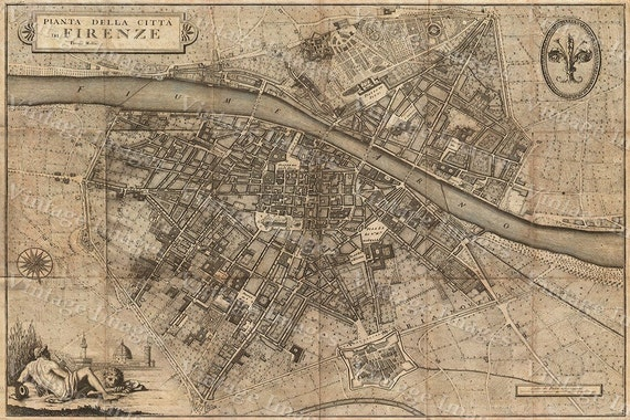 """Old map of Florence Italy 1847 Florence map up to 42x56"""" (107x143cm) Map of Firenze Old world Restoration  style Italy wall map"""